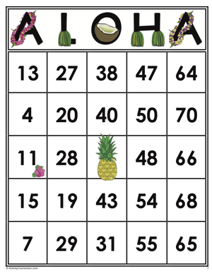 ALOHA<br>Bingo Cards<br><b>shipped to you</b>