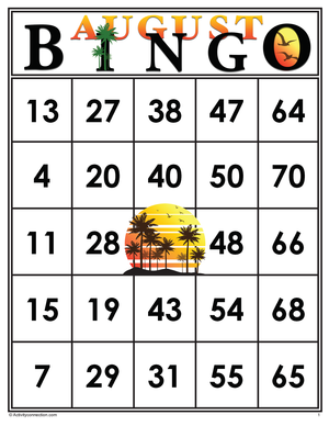 August<br>Bingo Cards<br><b>digital download</b>