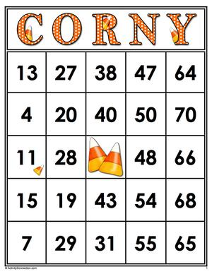 CORNY<br>Bingo Cards<br><b>digital download</b>