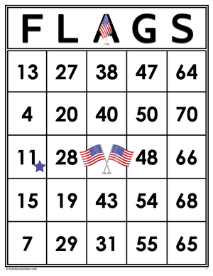 FLAGS<br>Bingo Cards<br><b>shipped to you</b>